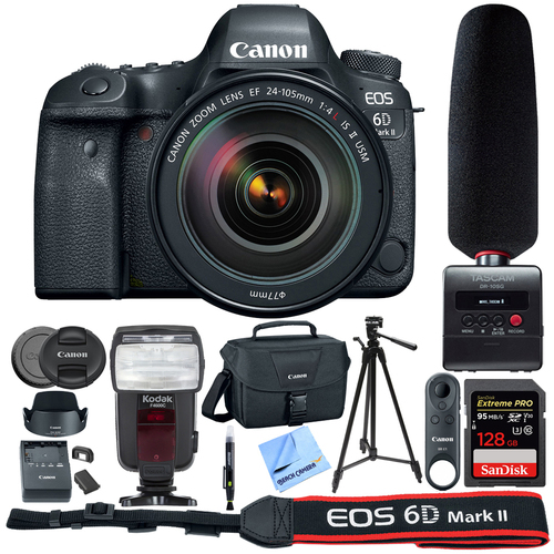 Canon EOS 6D Mark II 26.2MP DSLR Camera w/ 24-105mm Lens + Tascam Recorder Bundle