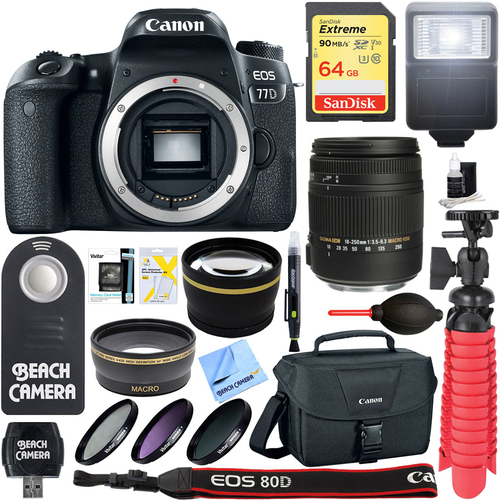 Canon EOS 77D 24.2MP CMOS DSLR Camera Body + Sigma 18-250mm Lens Memory & Flash Kit