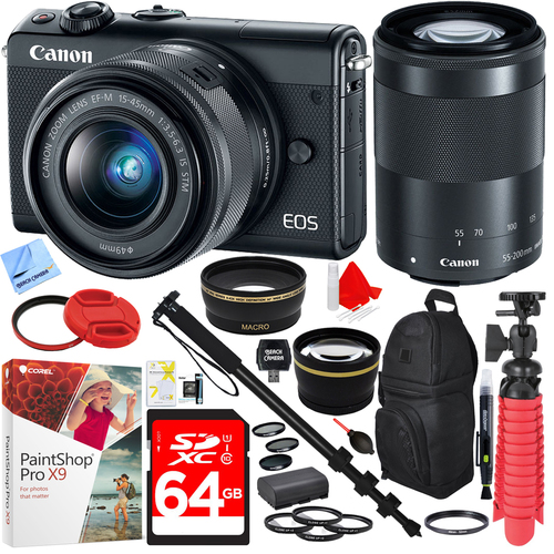 Canon EOS M100 Digital Camera with EF-M 15-45mm & 55-200mm IS STM Lens (Black) Kit
