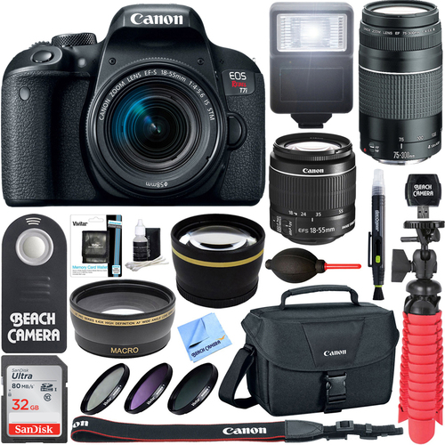 Canon EOS Rebel T7i DSLR Camera EF-S 18-55mm w/ 75-300mm III Lens + 32GB Accessory Kit