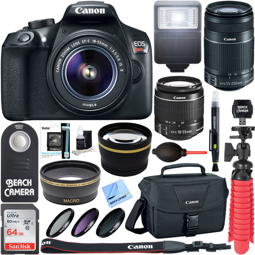Canon EOS Rebel T6 DSLR Camera with EF-S 18-55mm & 55-250mm IS II Lens + Accessory Kit