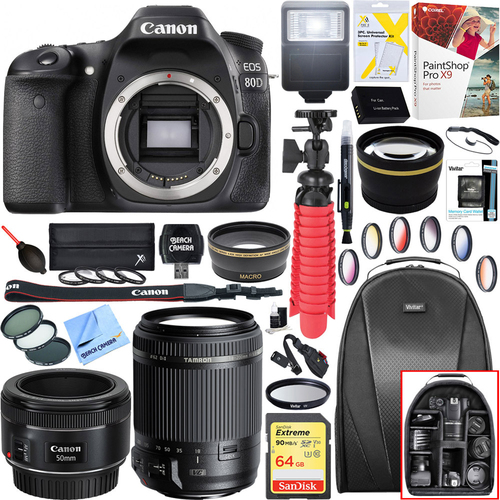 Canon EOS 80D 24.2MP CMOS DSLR Camera-Body + 18-200mm and 50mm f/1.8 Lens Bundle