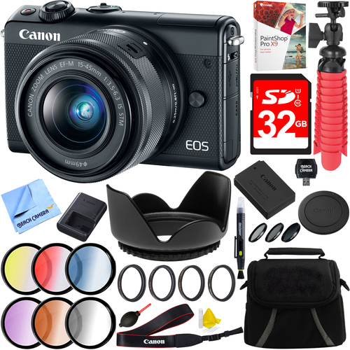 Canon EOS M100 24.2MP Mirrorless Camera EF-M 15-45mm IS STM Lens + 32GB Accessories Ki