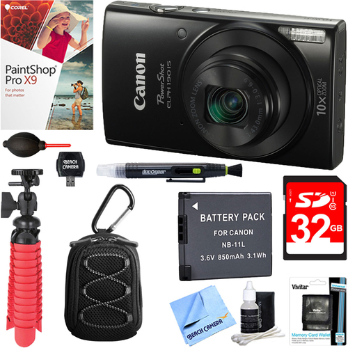 Canon PowerShot ELPH 190 IS Digital Camera (Black) + 32GB Deluxe Accessory Bundle