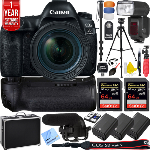 Canon EOS 5D Mark IV DSLR Camera w/ EF 16-35mm Lens Pro Memory Recording Bundle
