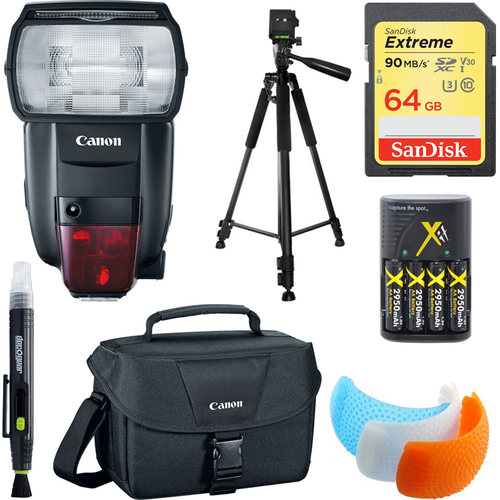 600EX II-RT Speedlite Flash, 64GB Card, Bag, and Accessories Bundle
