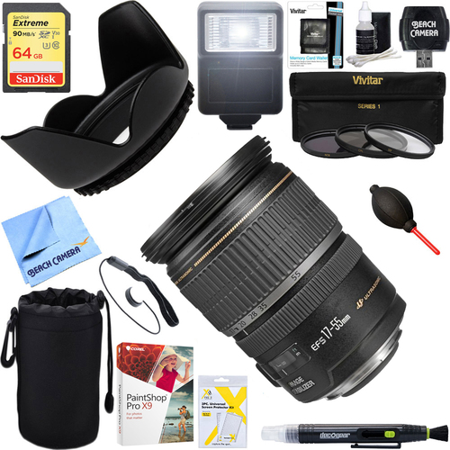 Canon EF-S 17-55mm F/2.8 IS USM Wide Angle Zoom Lens + 64GB Ultimate Kit