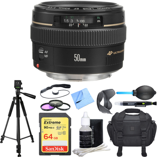 Canon EF 50mm f/1.4 USM Standard + Medium Telephoto Lens Deluxe Accessory Bundle