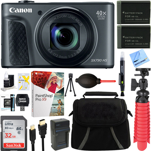 Canon PowerShot SX730 HS 20.3MP Digital Camera (Black) + Spare Battery & Accessory Kit