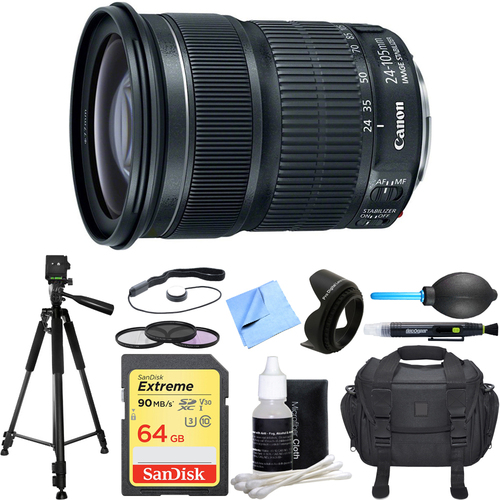 Canon EF 24-105mm f/3.5-5.6 IS STM Camera Lens Deluxe Accessory Bundle