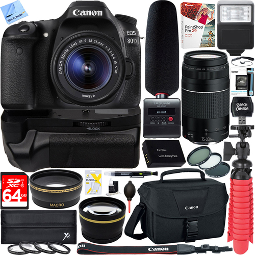 Canon EOS 80D DSLR Camera + 18-55mm & 75-300mm Dual Lens Tascam Video Creator Bundle