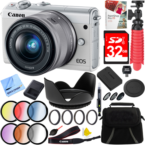 Canon EOS M100 24.2MP Mirrorless Camera EF-M 15-45mm IS STM Lens (White) Filter Kit