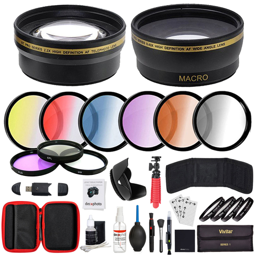 Deco Gear 52mm Lens Accessory Kit - Includes Filter Sets, Cases, & Cleaning Kit