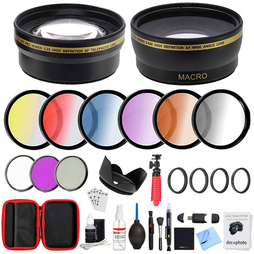 Deco Gear 55mm Lens Accessory Kit - Includes Filter Sets, Cases & Cleaning Kit