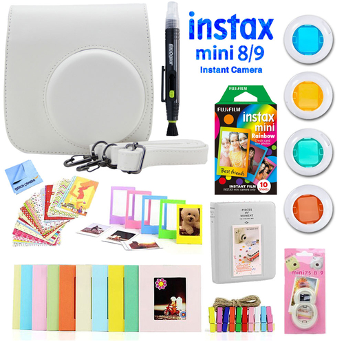 Deco Gear Accessories Bundle for Fujifilm Instax Mini 8/9 with Rainbow Film (10 Shots)