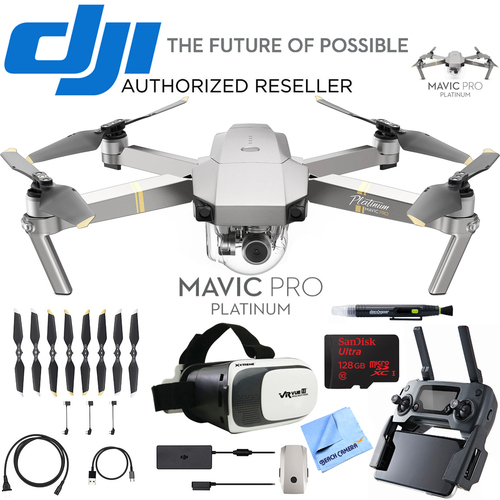DJI Mavic Pro Platinum Quadcopter Drone + Virtual Reality Experience Bundle