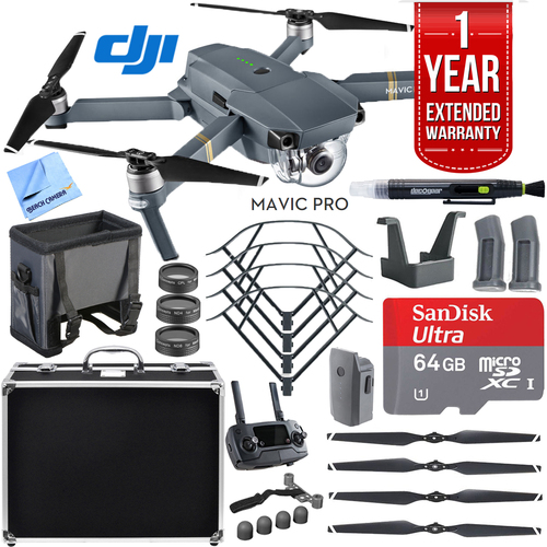 DJI Mavic Pro Quadcopter Drone with Hard Case, 64GB microSD, and Accessories Kit