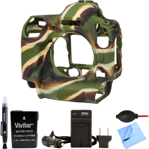 EasyCover Nikon D5 Silicone Protection Cover Bundle for your DSLR EN-EL14A Battery Camo