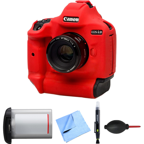 easyCover Canon 1DX Mark II Silicone Protection Cover Kit LPE-19 Battery (RED)