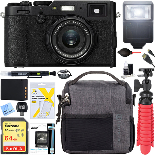 Fujifilm X-Series X100F 24.3-Megapixel Digital Camera (Black) + 64GB Memory & Flash Kit