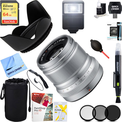 Fujifilm Fujinon ENS XF50mm F2 R WR Lens (Silver) + 64GB Ultimate Kit