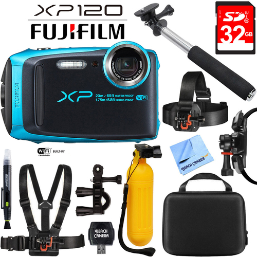 Fujifilm FinePix XP120 Sky Blue Compact Rugged Waterproof Digital Camera+32GB Card Bundle