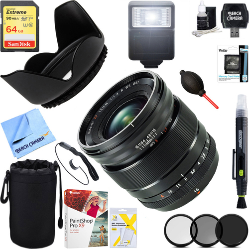 Fujifilm XF 16mm f/1.4 R WR Fast Aperture Wide-Angle Lens + 64GB Ultimate Kit