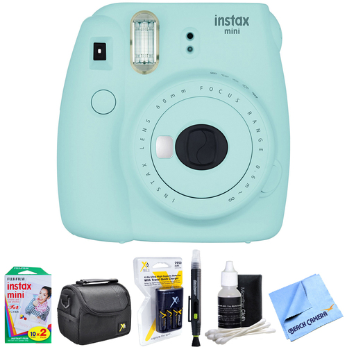 Instax Mini 9 Instant Camera Ice Blue w/ AA Batteries & Charger Bundle