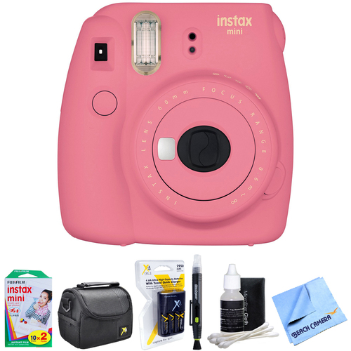 Fujifilm Instax Mini 9 Instant Camera Pink with AA Batteries & Charger Bundle