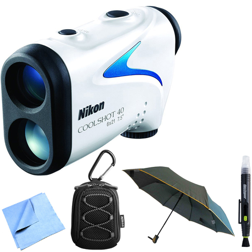 Nikon 16201 COOLSHOT 40 Golf Laser Rangefinder + Case + Cleaning Pen + Umbrella