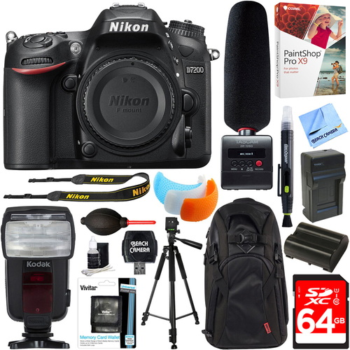 Nikon D7200 24.2MP HD DSLR Camera Body + Tascam DR-10SG Recorder & Microphone 64GB Kit
