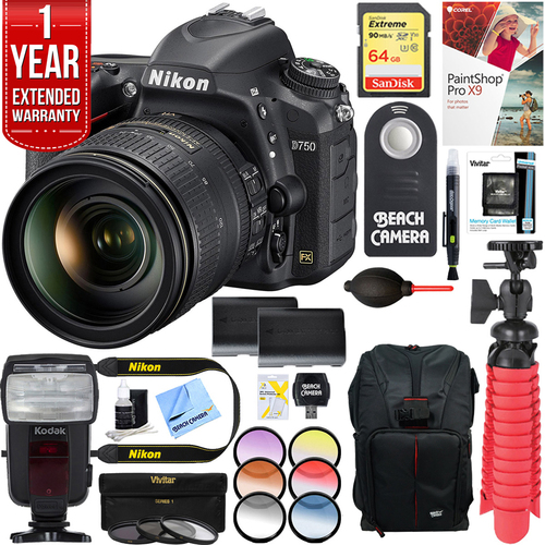 Nikon D750 24 3MP DSLR + Lens, 64GB, Battery Bundle | BuyDig com