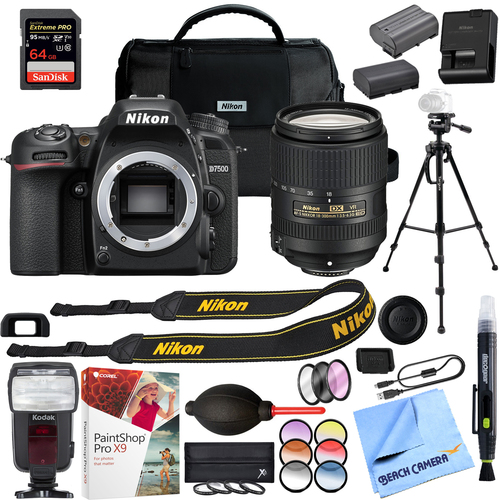 Nikon D7500 DX DSLR Camera with AF-S 18-300mm f/3.5-6.3G ED VR Lens Kit w/ Pro Bundle