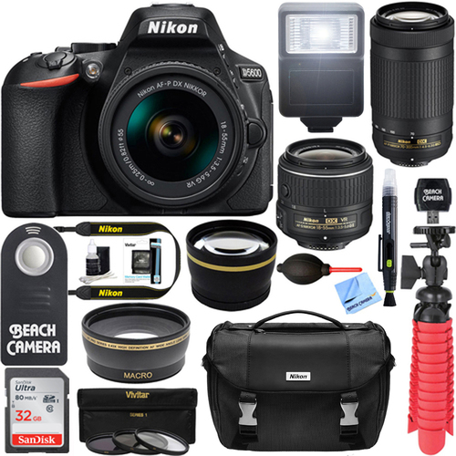 Nikon D5600 24.2MP DSLR Camera + AF-P 18-55mm w/ 70-300mm Lens Memory & Flash Kit