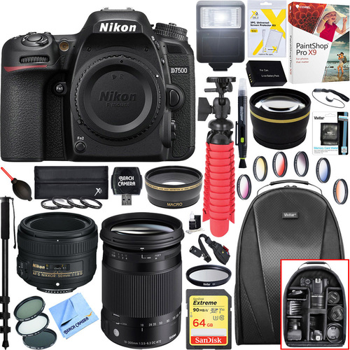 Nikon D7500 20.9MP DX-Format 4K DSLR Camera Body + 18-300mm and 50mm Lens Bundle