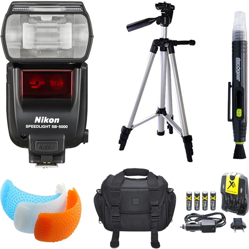 SB-5000 AF Speedlight Flash, Tripod, and Case Bundle