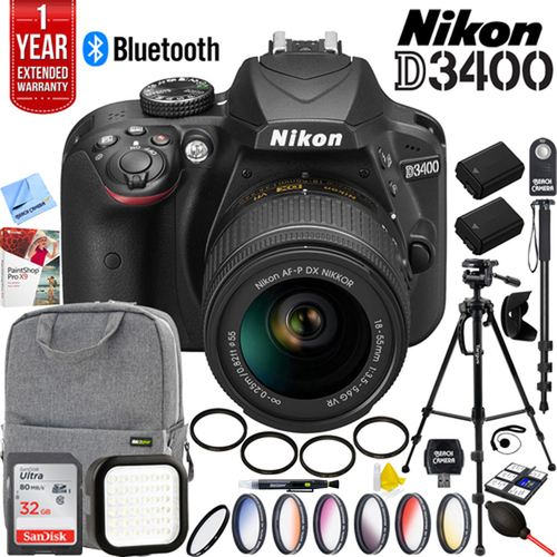 Nikon D3400 DSLR Camera w/ 18-55mm VR Lens + 32GB Accessory Pro Bundle