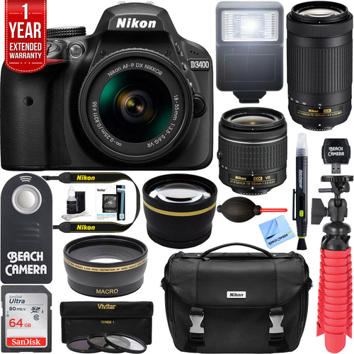 Nikon D3400 DSLR Camera w/ AF-P DX 18-55mm & 70-300mm Zoom Lens 64GB Accessory Bundle