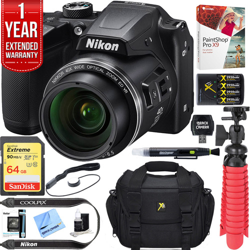 Nikon COOLPIX B500 16MP 40x Optical Zoom Wi-Fi Digital Camera (Black) + 64GB Bundle