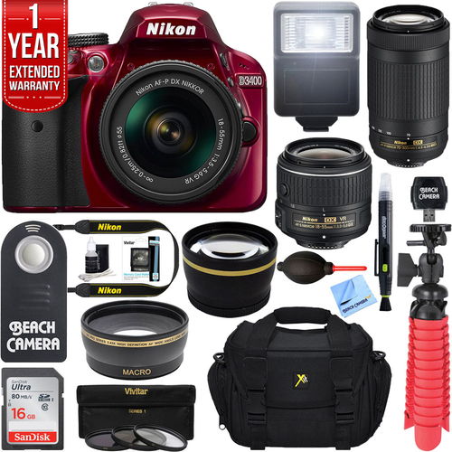 Nikon D3400 DSLR Camera + 18-55mm VR & 70-300mm Dual Lens Bundle (Red) Refurbished