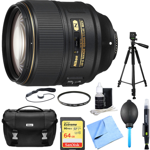 Nikon AF-S NIKKOR 105mm f/1.4E ED Lens with 64GB Deluxe Bundle