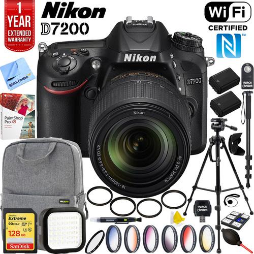D7200 DX DSLR Camera 18-140mm VR Lens + 128GB Accessory Pro Bundle