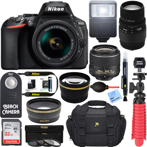 Nikon D5600 DSLR Camera w/ AF-P 18-55mm + 70-300mm SLD DG Lens Accessory Bundle