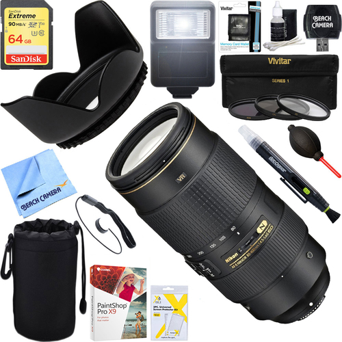 Nikon AF-S NIKKOR 80-400mm f.4.5-5.6G ED VR Lens + 64GB Ultimate Kit