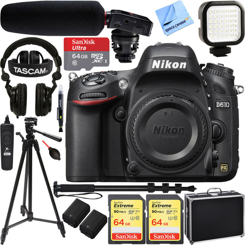 Nikon D610 FX-format 24.3 MP 1080p DSLR Camera Body w/ Tascam Pro Video Bundle