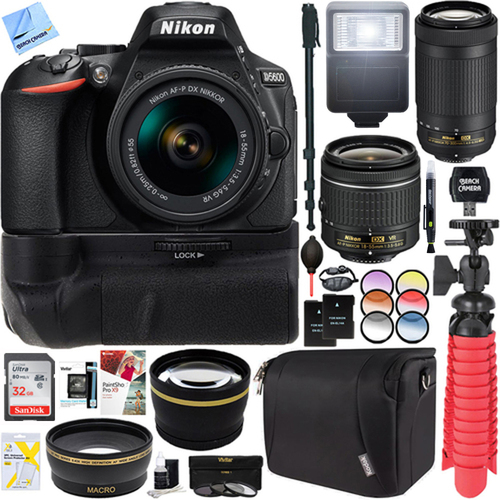 Nikon D5600 24.2MP DSLR Camera + AF-P 18-55mm VR & 70-300mm ED Lens Battery Grip Kit