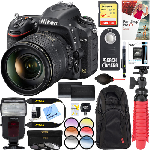 Nikon D750 24.3MP DSLR Camera w/ AF-S 24-120mm ED VR Lens + 64GB Deluxe Battery Bundle