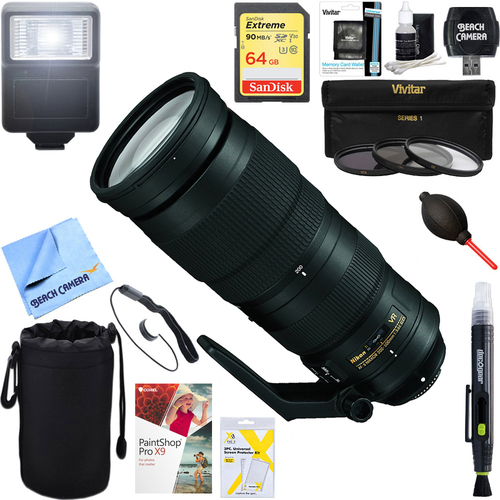 Nikon 200-500mm f/5.6E ED VR AF-S NIKKOR Zoom Lens for Nikon + 64GB Ultimate Kit