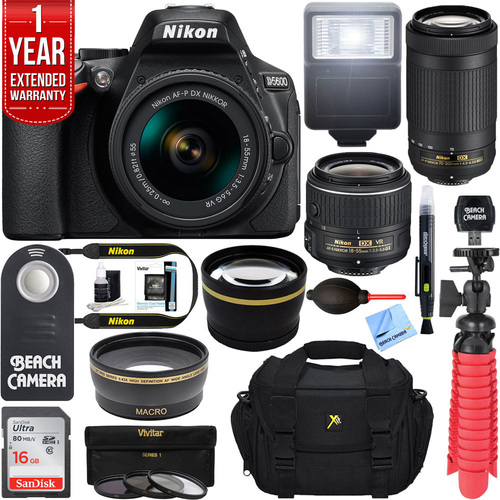 Nikon D5600 DSLR Camera + 18-55mm VR and 70-300mm Lens Bundle (Black) Refurbished