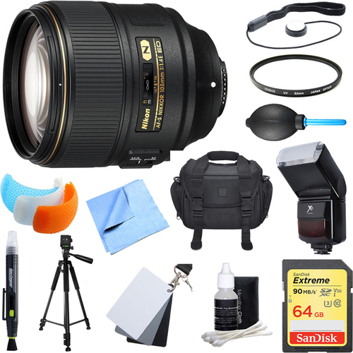 Nikon AF-S NIKKOR 105mm f/1.4E ED Lens. 64GB Card, Flash, and Accessories Bundle